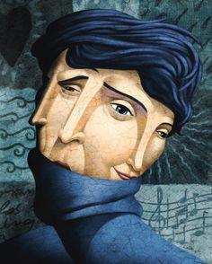 Illustration - David de Ramón - The Mushroom Company - two faces