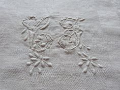 French Antique linen damask tablecloth monogrammed, monograms CF, table cloth vintage linens for diningtable, handworked heirloom linens