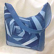 Купить или заказать Джинсовая сумка-рюкзак в интернет магазине на Ярмарке Мастеров. С доставкой по России и СНГ. Срок изготовления: 5 дней. Материалы: Джинсовая ткань. Размер: 40 * 30, в основе круг D=27 см