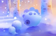 Blue snow cute dinosaur