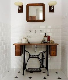 UPCYCYLE a singer sewing table & peddle system into a vanity in the bathroom! Repurpose estate sale finds like this Singer sewing table into a bathroom vanity! Black Bathroom Decor, Art Deco Bathroom, Bathroom Ideas, Downstairs Bathroom, Bathroom Vintage, Classic Bathroom, Bathroom Designs, Bathroom Wall, Bathroom Gray