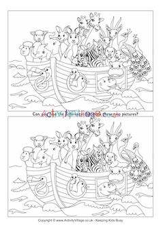 Noah's Ark Find the Differences Super Coloring Pages, Colouring Pages, Coloring Pages For Kids, Coloring Books, Lessons For Kids, Bible Lessons, Find The Difference Pictures, Hidden Picture Puzzles, Halloween Activities For Kids