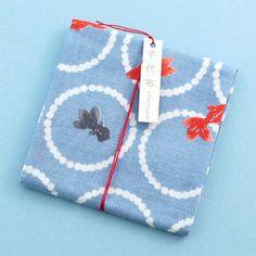 遊 中川 千代布 輪金魚青 #hand towel #tenugui #japan