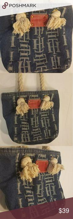 Tommy Hilfiger jean bucket handbag rope straps Like new blue and cream #d Tommy Hilfiger Bags Satchels