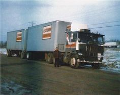 1984 White Freightliner Cabover, mechanical cat power. Truck ran linehaul trains from Montreal, PQ to Vancouver, BC.