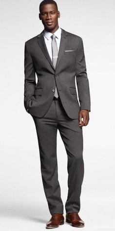 EXPRESS grey suit with brown shoe, light blue shirt with light grey tie. Not with brown shoes though. Grey Suit Brown Shoes, Grey Suit Men, Mens Suits, Grey Tie, Black Tie, Brown Tie, Mens Attire, Charcoal Gray Suit, Dark Gray Suit