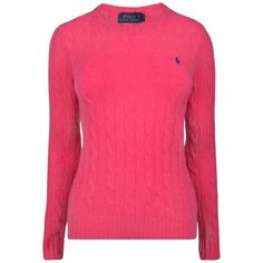 Polo Ralph Lauren Crew Neck Knitted Jumper ($185) ❤ liked on Polyvore featuring tops, sweaters, pink, wool crew neck sweater, pink sweater, wool jumper, pink jumper and pink top