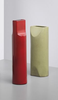 ETTORE SOTTSASS Vase, model no. 585, with another vase both from the 'Fishietto' series, 1962