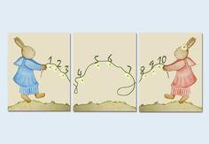 bunny wall decals nursery   Decor, Boy or Girl Nursery Decor, SET OF3 Bunny Prints, Bunny Wall ...