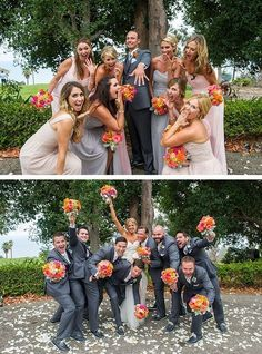 Funny wedding party photo ideas with bridesmaids and groomsmen / http://www.deerpearlflowers.com/wedding-photo-ideas-with-bridesmaids-and-groomsmen/