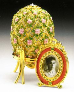 Imperial Rose Trellis egg, originally created in 1907, celebrated the birth of Czarevich Alexi, son and heir of Nicholas and Alexandra.