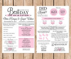 A Modern Infographic Wedding Program To Entertain Your Guests This Listing Is For