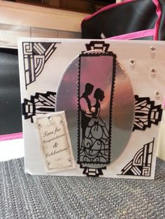 "Handmade by Teresa Penfold from Rye, East Sussex; ""Wedding card. Art Deco dies, Last dance couple"" #CardMaking"