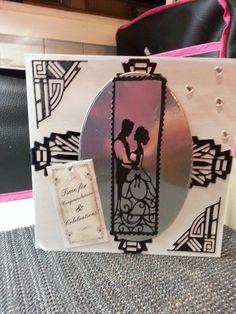 "Handmade by Teresa Penfold from Rye, East Sussex; ""Wedding card. Art Deco dies, Last dance couple"" #CardMaking"
