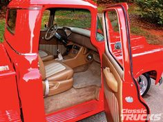 Who doesn't love a classic truck Chevy Pickups, Chevy Trucks, Diy Truck Interior, Chevrolet Apache, Custom Trucks, Old Cars, Colorful Interiors, Hot Wheels, Vintage Cars