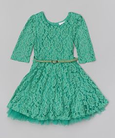 Look what I found on #zulily! Emerald Lace Belted Dress - Girls #zulilyfinds