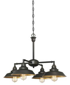 Westinghouse Iron Hill Four-Light Indoor Convertible Chandelier/Semi-Flush Ceiling Fixture. Iron Hill Four-Light Indoor Convertible Chandelier/Semi-Flush Ceiling Fixture Oil Rubbed Bronze Finish with Highlights and Metallic Bronze Interior Bronze Chandelier, Chandelier Shades, Chandelier Lighting, Linear Chandelier, Pendant Lights, Cabin Lighting, Ceiling Pendant, Nautical Lighting, Cottage Lighting
