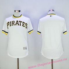 Men's Pittsburgh Pirates Blank White Pullover 2016 Flexbase Majestic Baseball Jersey