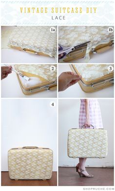 2019 Suitcase The post DIY lace pockets. 2019 appeared first on Lace Diy. Cute Suitcases, Vintage Suitcases, Vintage Luggage, Suitcase Decor, Suitcase Packing, Suitcase Storage, Decoupage Suitcase Diy, Suitcase Table, Diy Sac