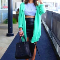 Love the mint green cardy with leather and grey