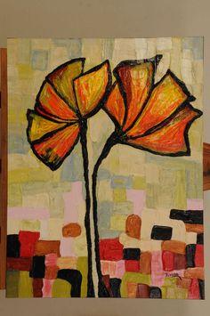Cuadro abstracto floral, muy decorativo, texturado totalmente, pintado con acrílico, realizado sobre tabla de mdf con bastidor