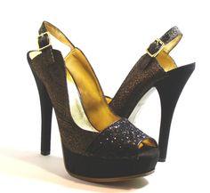 Nine West Dourthang Platform Pump Shoes, Black Glittergold Brocade, Size 9 Med #NineWest #PlatformsWedges http://stores.ebay.com/ECLECTIC-GOODIES-EG