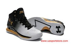 7d7e07775bf Under Armour UA Curry One White Black Gold Men  s Basketball Shoes Curry One