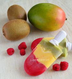Stoplicht ijsjes met framboos, mango en kiwi - Laura's Bakery