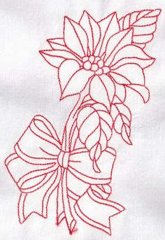 Machine Embroidered Quilt Block Flowers Redwork by AidforAbby, $3.99