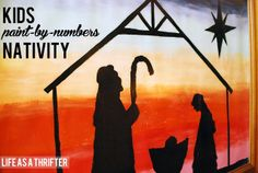 Kids paint-by-numbers Nativity shared on Design Dazzle