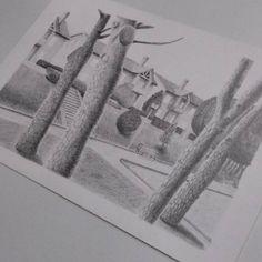 Paisaje de  Gonzalo #art #artesalamanca  #artwork  #cubogaleriaadultos2015 #pencil #lapiz #tree #draw #dibujo #drawing…