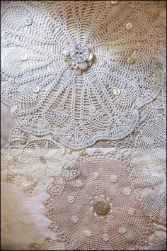 Close up of doily quilt at the Petting Zoo.
