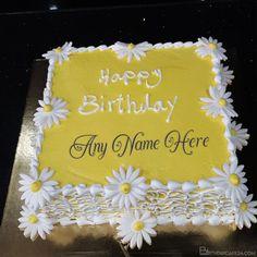 White Flowers Birthday Cake With Name Generator