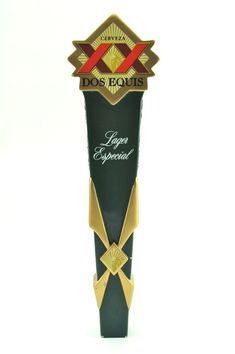 Dos Equis Cerveza Lager Especial Green & Gold Deco Style Wood Beer Tap Handle #DosEquis
