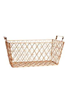 Small metal wire basket with a handle on each short side. Size 4 x 6 x 10 in. Large Wire Basket, Wire Baskets, Best Closet Organization, Organization Hacks, Garage Interior, Living Room Interior, Gold Color Palettes, H&m Home, Video Games For Kids
