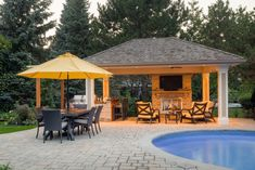 Gazebo ideas for backyard pool gazebo ideas backyard cabana ideas Backyard Cabana, Backyard Gazebo, Pool Cabana, Outdoor Gazebos, Outdoor Structures, Small Pool Houses, Sunken Hot Tub, Vinyl Pool, In Ground Pools