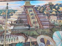 Tenochtitlan | Description Murales Rivera - Indianer vor Tenochtitlan - Pyramide.jpg