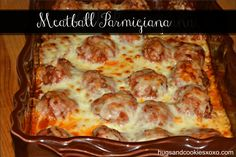 Baked Meatball Parmigiana - Best Part is ONLY 20 minutes in the oven and dinner is done. Recipe is at: http://hugsandcookiesxoxo.com/2014/03/baked-meatball-parmigiana.html Meatball parmigiana