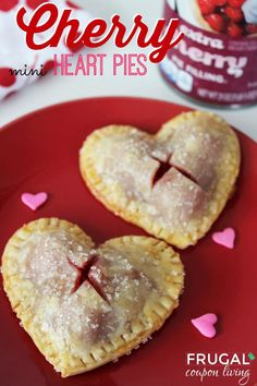 Easy Homemade Cherry Heart Pies using refrigerated crust. Easy Recipe and Tutorial for Valentine's Day from Frugal Coupon Living. Pin to Pinterest.