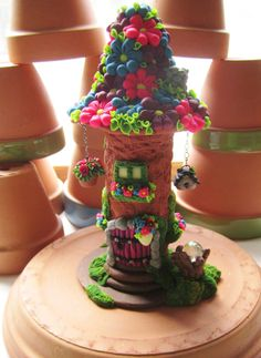 Spring Flower Fairy House by DawnsClayFantasy on Etsy