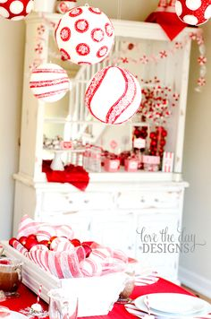Coordinating with the printable party are sparkly peppermint balls, peppermint garlands and discs & felt candy cane pillows whose patterns are all listed in Sew Love The Day