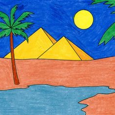 Landscape Drawing For Kids, Basic Drawing For Kids, Drawing Pictures For Kids, Easy Drawings For Kids, Colorful Drawings, Cute Drawings, Easy Painting For Kids, Easy Art For Kids, Basic Painting