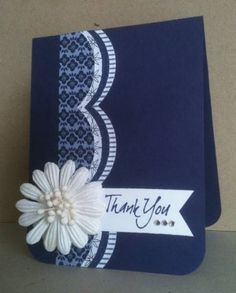 handmade thank-you card ... luv the drama of the deep dark blue card base ... monochromatic blues ... large scallop die edge with thin layers of blue print papers .. elegant ....