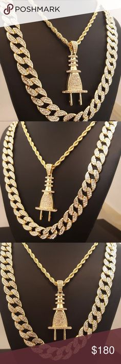 """ICED OUT POWER PLUG NECKLACE & CUBAN SET Iced Out Miami Cuban Chain : The piece featured here is made with cuban style, thick links. each one covered with cubic zirconia accents through out the chain. The necklace is a nice, thick piece. Fully ICED OUT!! Very popular, celebrity style piece. Unique, All fresh design. High Quality and polished. SIZE : 16mm 30"""" Power Plug Neceklace: Chain : Rope Chain Chain Length : 30""""  Chain Width : 5mm COLOR: 14K Gold Plated PENDANT SIZE : 60mm x 23mm…"""