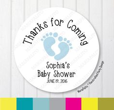 Baby Shower Stickers, Thank You Baby Feet Stickers, Thank You Labels, PRINTED round Stickers, tags, Labels or Envelope Seals A1264 These stickers will be customized for you. Custom Design Personalized stickers have so many uses! Use them on party favors, as return address labels, as envelope seals or anything else! This Listing is for ONE set of ONE of the following options: 1 Round Easy to Peel Stickers (Set of 63 Stickers) 2 Round Easy to Peel Stickers (Set of 20 Stickers) 2 1/2 Ro...