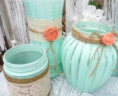 Burlap and Lace, Mint Green and Coral SHABBY CHIC Vase set of 10. $125.00, via Etsy.