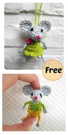 Crochet Amigurumi Mini Mouse Free Crochet Pattern - How cute are these crochet mice! They would be a nice home decoration. Check out a few Free Mini Mouse Crochet Patterns we have collected for you! Crochet Mouse, Crochet Gifts, Cute Crochet, Crochet Dolls, Knit Crochet, Crotchet, Crochet Stitches, Crochet Baby, Crochet Amigurumi Free Patterns