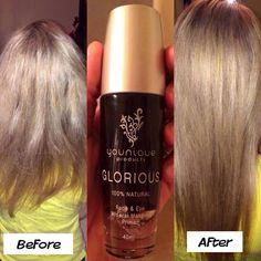 Produit glorious génial comme couche de base pour le maquillage mais peut être utiliser comme soie pour les cheveux :)
