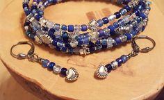 Shaded Sapphire blue stretchy seed bead bracelets by OklahomaMama
