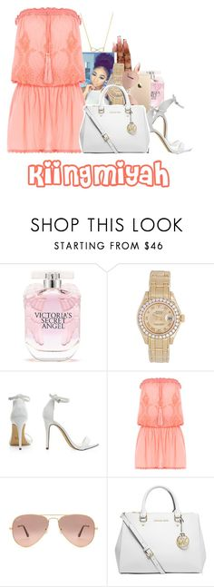 """""""whenever you see her salute her"""" by kiingmiyah ❤ liked on Polyvore featuring Alexander Wang, Victoria's Secret, Rolex, Melissa Odabash, Ray-Ban, MICHAEL Michael Kors and Wanderlust + Co"""
